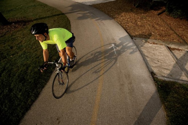Ed Barsotti, age 43, the Executive Director of the League of Illinois Bicyclists, advises municipalities across the state and is a lobbyist to government about bike issues. He rides at Waubonsie Lake Park, part of the Fox Valley Parks District, in Aurora.