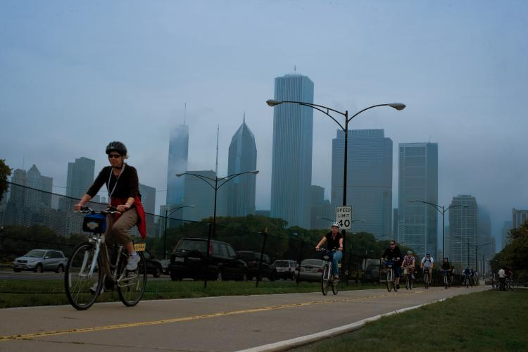 In downtown Chicago the bike path along Lakeshore Drive is a popular destination for bicyclists.