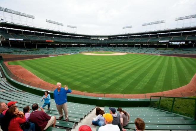The expansive grass at Wrigley Filed as seen from the center field bleechers. The groundskeepers at Wrigley Field, in Chicago, home of the Cubs, are among the best qualified to give lawn care tips because they have to deal with keeping grass healthy every day.