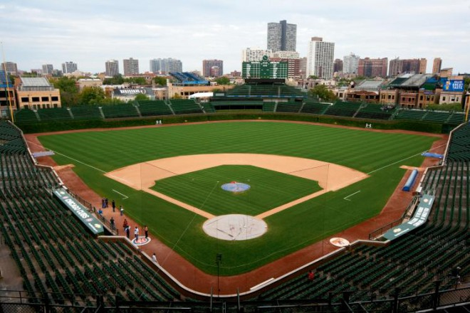 The expansive grass at Wrigley Filed as seen from upper deck. The groundskeepers at Wrigley Field, in Chicago, home of the Cubs, are among the best qualified to give lawn care tips because they have to deal with keeping grass healthy every day.