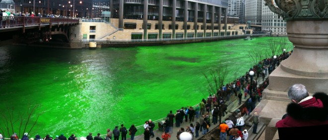 green river in Chicago for St. Patrick's Day