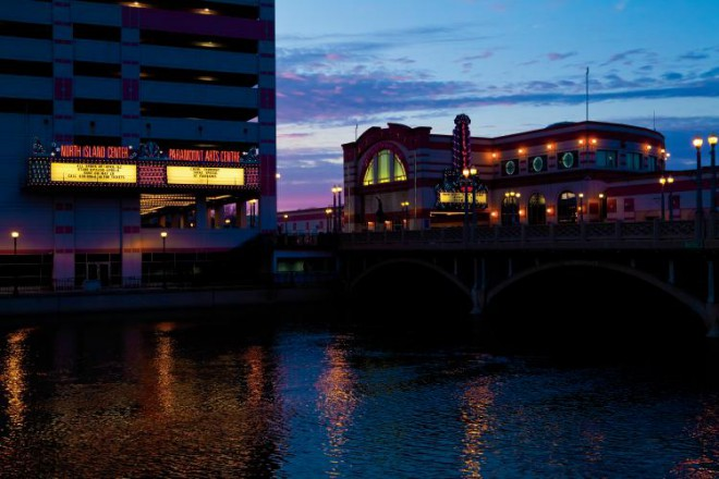 The Hollywood Casino located in the middle of the Fox river in Aurora Il.