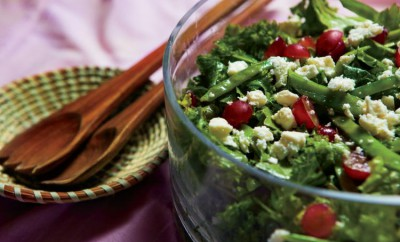 Mixed Green Salad with Snow Peas, Grapes and Feta