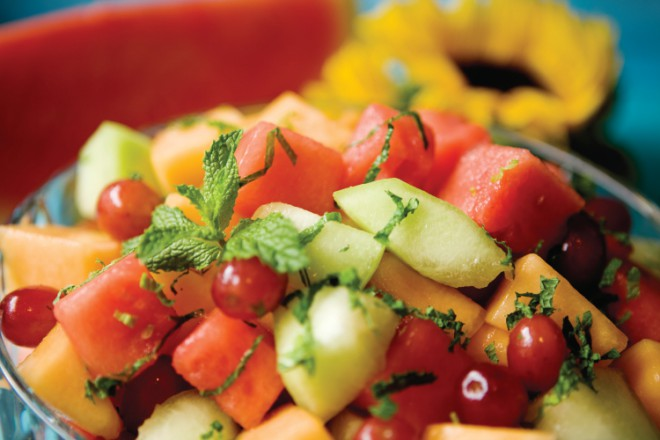 Three-Melon Fruit Salad Recipe with Honey Lime Mint Dressing