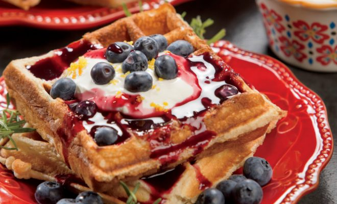 Blueberries and Cream Waffles