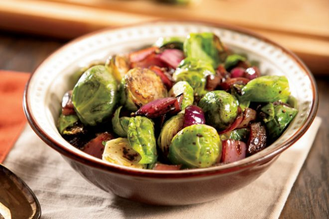 Roasted Brussels Sprouts with Balsamic Glazed Red Onions