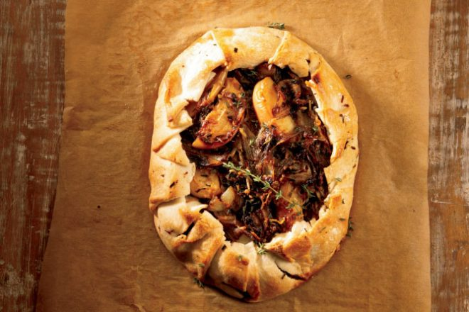 Rustic Onion Tart with Apples and Gruyere Cheese