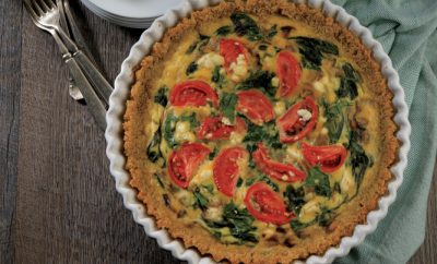 Spinach, Tomato and Feta Quiche with Quinoa Crust