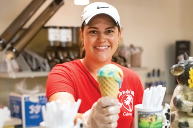 The Old Dairy, owner Emily Gemage serving ice cream