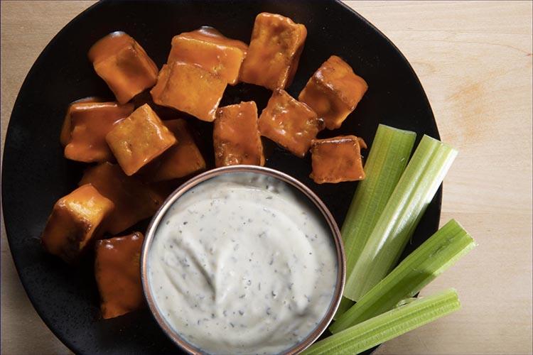 tofu recipes; Buffalo Tofu Bites with Vegan Ranch Dressing